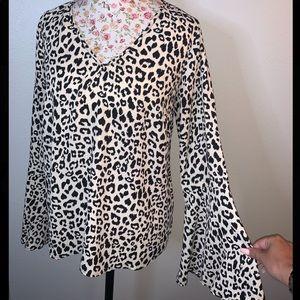 Leopard print bell sleeve blouse